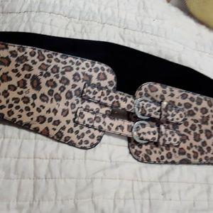 2 stretchy black belts: leopard & zebra sold